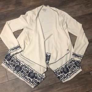 Lucky Brand Embroidered Waterfall Cardigan Cream
